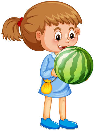 A girl holding watermelon fruit cartoon character isolated on white background illustration 矢量图像