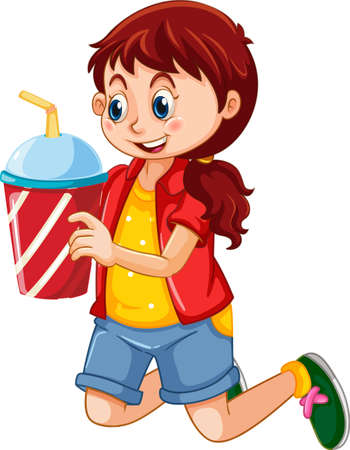 A cute girl holding drink cup cartoon character isolated on white background illustration