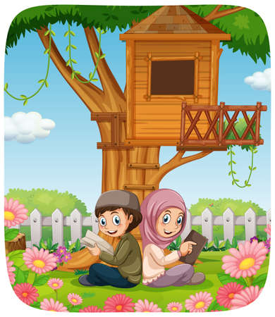 Muslim sister and brother cartoon character illustration