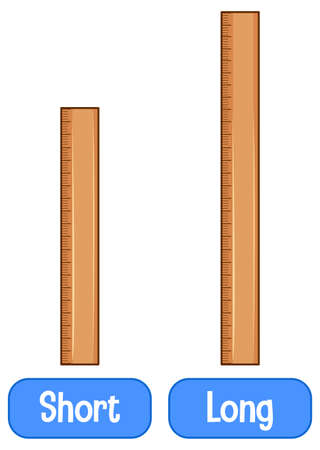 Opposite adjectives words with short ruler and long ruler illustration