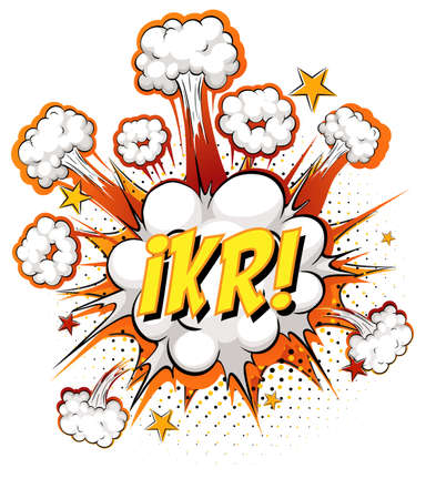 IKR text on comic cloud explosion isolated on white background illustration