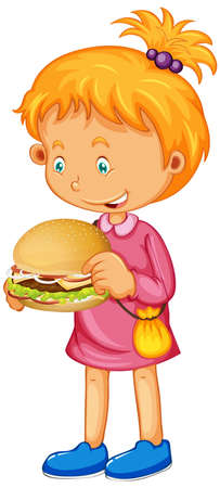Girl holding her sandwich isolated illustration