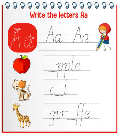 English alphabet tracing worksheets illustration