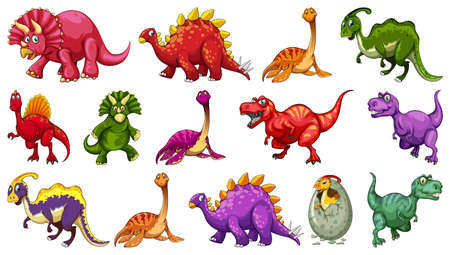 Set of different dinosaur cartoon character isolated on white background illustration
