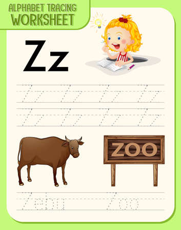 Alphabet tracing worksheet with letter Z and z illustration