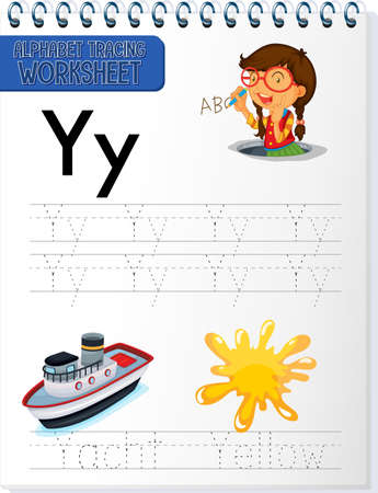 Alphabet tracing worksheet with letter Y and y illustration 矢量图像