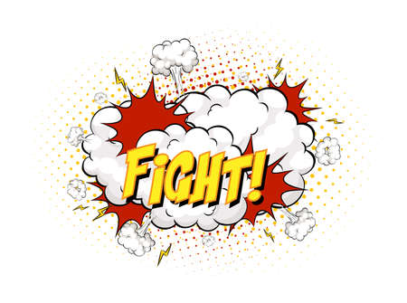 FIGHT text on comic cloud explosion isolated on white background illustration
