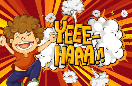 Yeee-haa word on explosion background with boy cartoon character illustration 矢量图像