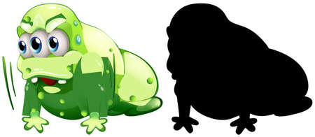 Green monster with its silhouette on white background illustration