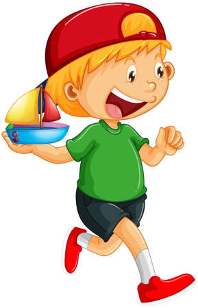 A boy holding a ship toy cartoon character isolated on white background illustration