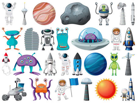 Set of space objects and elements isolated on white background illustration 矢量图像