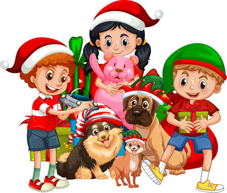 Group of children with their dog wear Christmas costume cartoon character on white background illustration