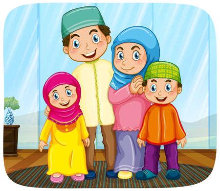 Cute muslim family cartoon character illustration Vektorgrafik