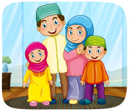 Cute muslim family cartoon character illustration Vector Illustration