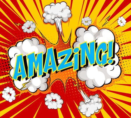 Word Amazing on comic cloud explosion background illustration