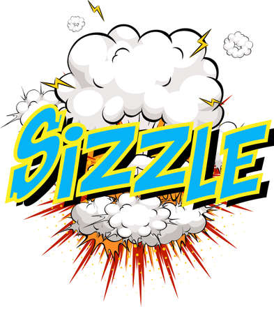 Word Sizzle on comic cloud explosion background illustration