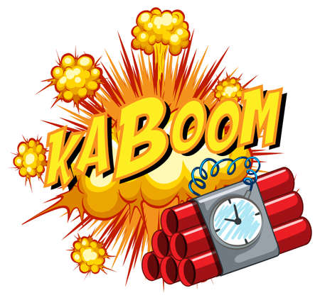 Comic speech bubble with kaboom text illustration