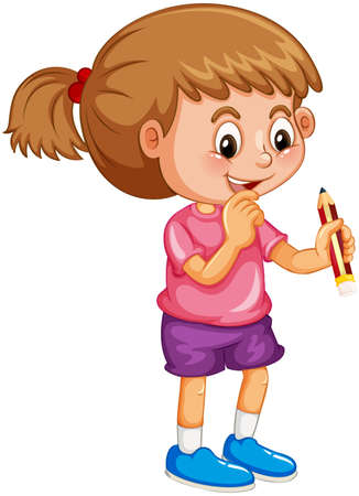 A girl holding a pencil cartoon character isolated on white background illustration