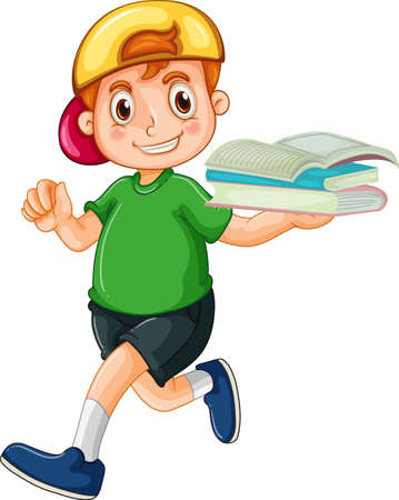 A happy boy holding book cartoon character on white background illustration