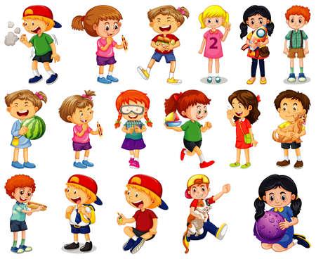 Children doing different activities cartoon character set on white background illustration Векторная Иллюстрация