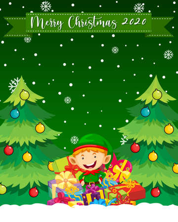 Merry Christmas 2020 font logo with cute elf cartoon character illustration