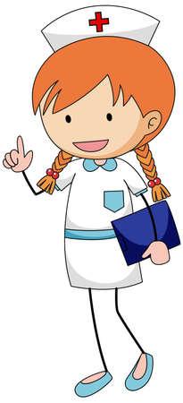 Cute nurse doodle cartoon character isolated illustration