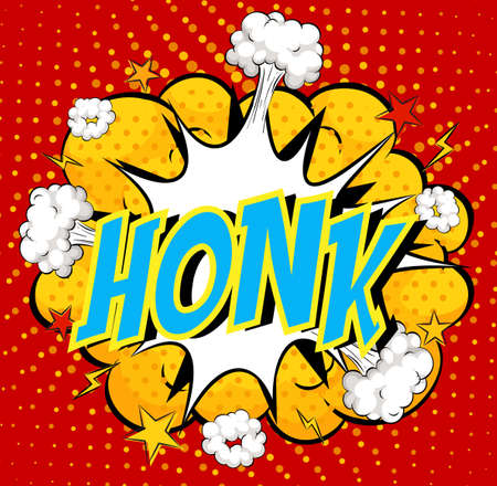 Word Honk on comic cloud explosion background illustration