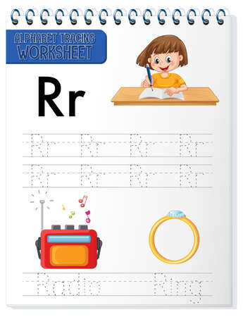Alphabet tracing worksheet with letter R and r illustration Ilustración de vector