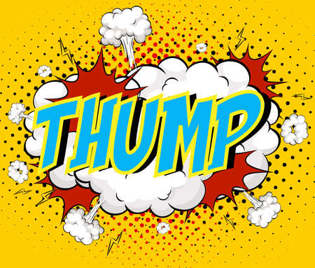 Word Thump on comic cloud explosion background illustration