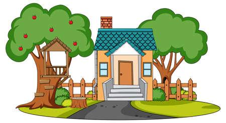 Front view of mini house with nature elements on white background illustration Vektorgrafik