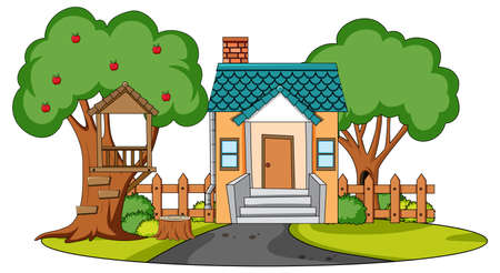 Front view of mini house with nature elements on white background illustration Vektorové ilustrace