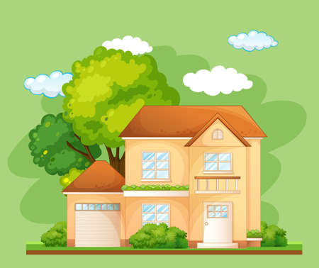 Front of a house with many tree on green background illustration