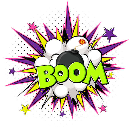 Comic speech bubble with boom text illustration