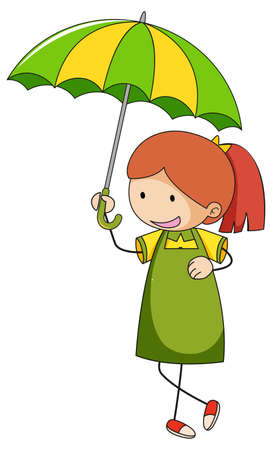 Cute girl holding umbrella doodle cartoon character isolated illustration