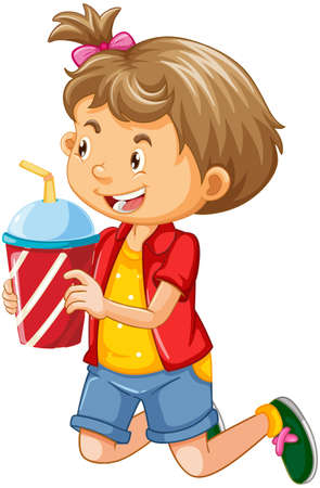 Happy girl cartoon character holding a drink plastic cup illustration