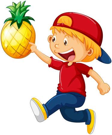 Happy boy cartoon character holding a pineapple illustration