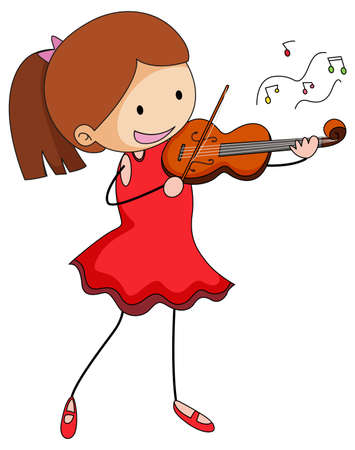 Cute girl playing violin doodle cartoon character isolated illustration