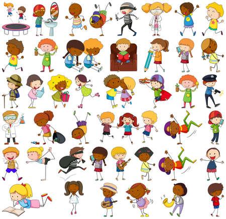 Set of different doodle kids cartoon character illustration