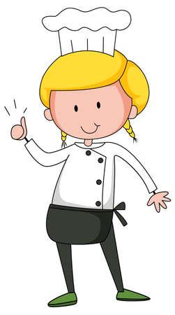 Little chef cartoon character isolated illustration