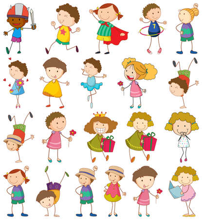 Set of different kids in doodle style illustration