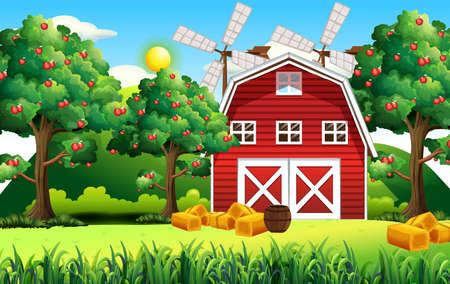 Farm scene with red barn and windmill illustration Vector Illustratie