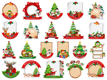 Set of blank Christmas card template isolated on white background illustration