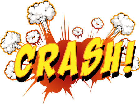 Comic speech bubble with crash text illustration