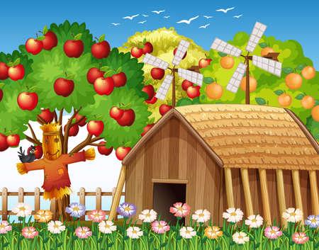 Farm scene with farmhouse and big apple tree illustration