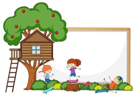 Empty banner with kids cartoon character and elements isolated illustration Vektoros illusztráció