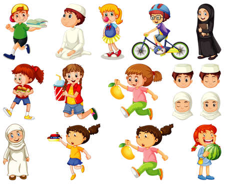 Children doing different activities cartoon character set on white background illustration Ilustración de vector