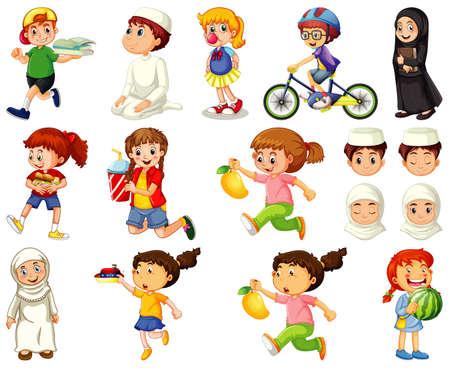 Children doing different activities cartoon character set on white background illustration Vektorové ilustrace