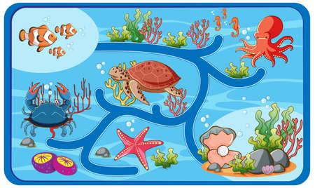 Cute cartoon maze game template illustration