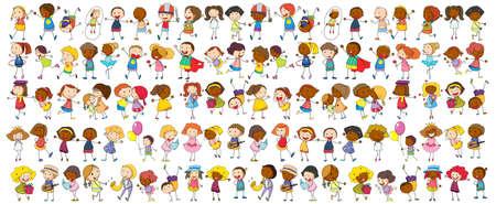 Set of different doodle kids cartoon character illustration Vektorgrafik