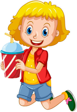 Happy girl cartoon character holding a drink plastic cup illustration Vetores